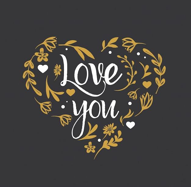 Цветочное сердце с буквами «люблю тебя» - концепция дня святого валентина.