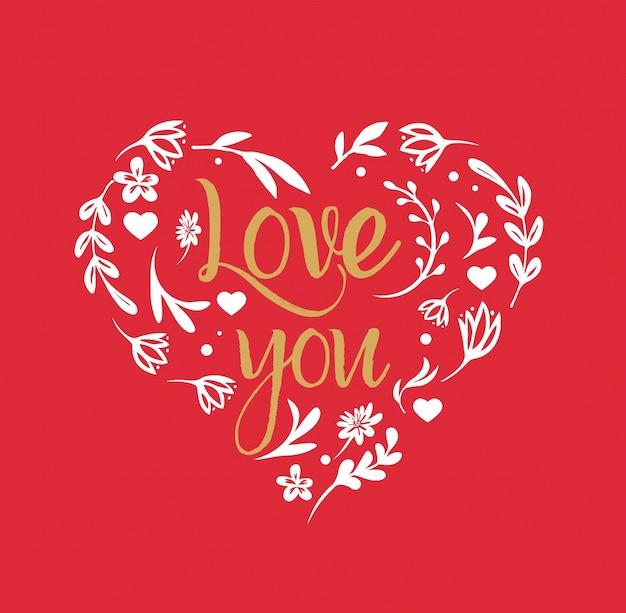 「愛してる」のレタリングが付いた花のハート