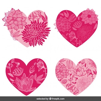 Цветочные сердца набор