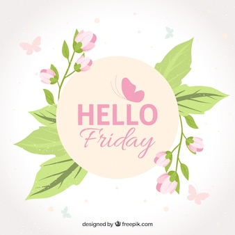 Floral hello friday background