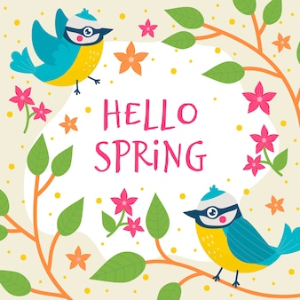 Floral hello spring background with birds