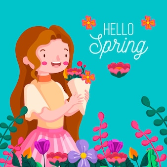 Floral hello spring background with girl
