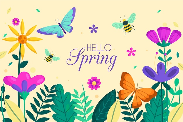 Floral hello spring background with insects