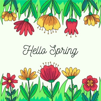 Floral hello spring banner