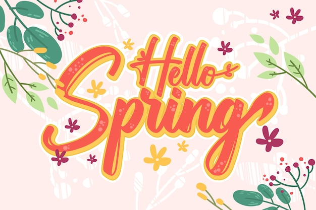 Floral hello spring lettering