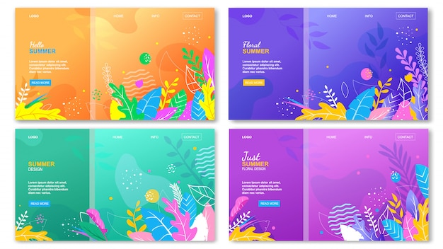 Floral hello summer landing page set