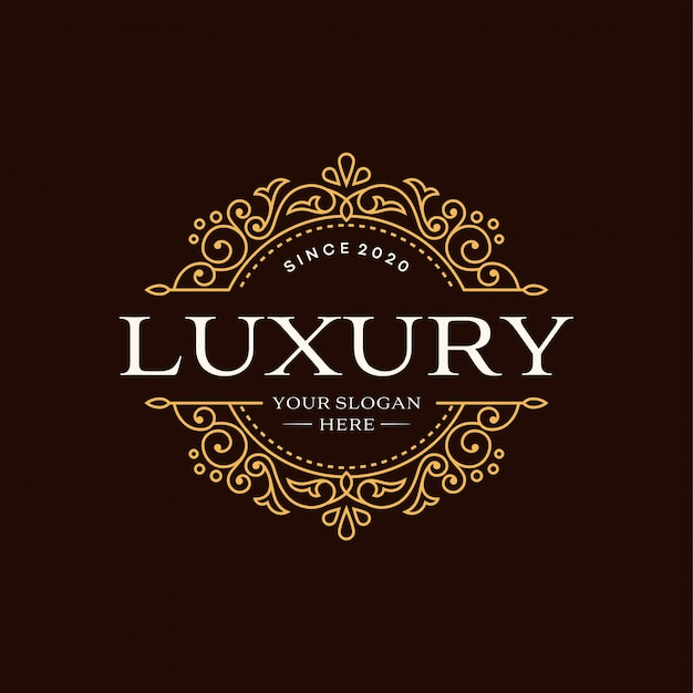 Floral heraldic luxury circle logo template in vector for restaurant, royalty, boutique, cafe, hotel, jewelry, fashion and other