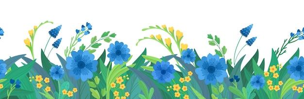 花の水平方向の背景。青と黄色の野花の境界線。