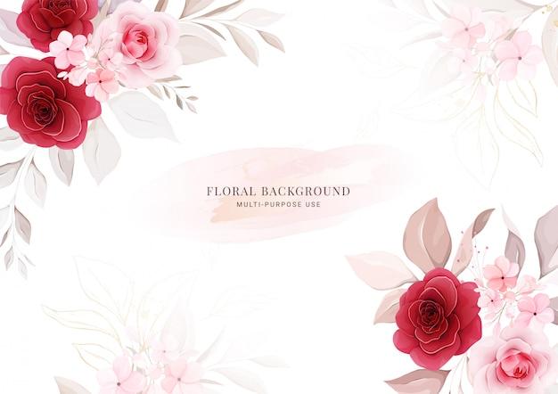 フローラル。花のフレームと枠の水平方向の結婚式の招待カードテンプレート。