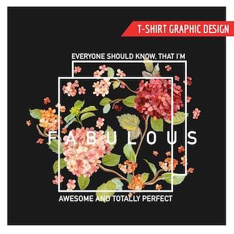 Floral hortensia card graphic design