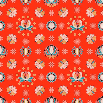Floral hungarian ornament seamless pattern