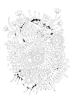 着色のための花のイラスト。黒白の背景。