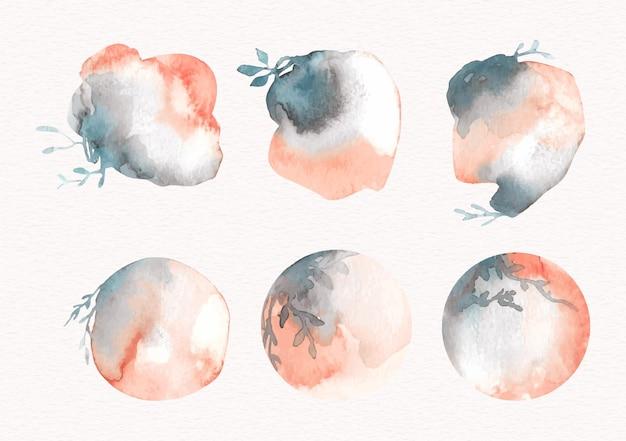 원 모양의 꽃 혼합 된 수채화 컬렉션