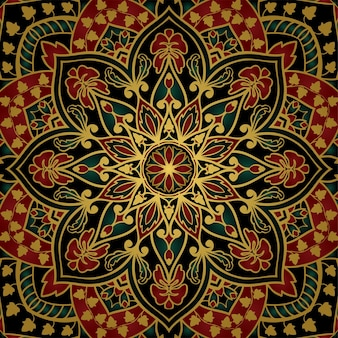 Floral indian pattern with mandala. colorful template for carpet, shawl.
