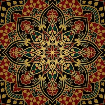 マンダラと花のインドのパターン。カーペット、ショールのカラフルなテンプレート。
