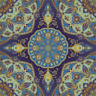 マンダラと花のインドのパターン。テキスタイル、カーペット、ショールのイースタンブルーのデザイン。