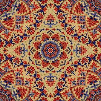 섬유 카펫 목도리에 대 한 만다라 벡터 아름 다운 배경 템플릿 꽃 인도 패턴