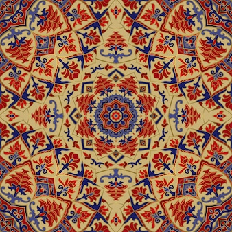 Floral indian pattern with mandala vector beautiful background template for textile carpet shawl