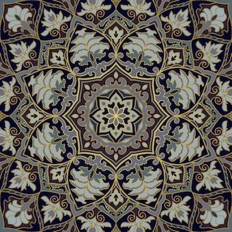 만다라와 꽃 인도 패턴입니다. 벡터 아름 다운 배경입니다.
