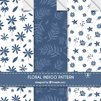 Floral indigo patterns
