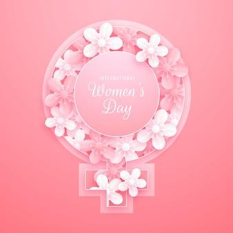Цветочный международный женский день в бумажном стиле
