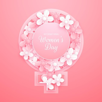 Floral international women's day in paper style