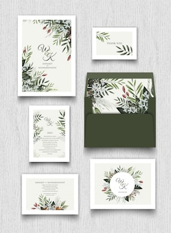 Floral invitation card and letter collection.