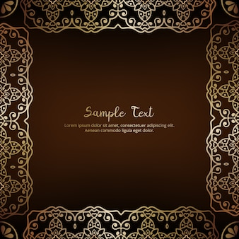 Floral invitation card with golden frame