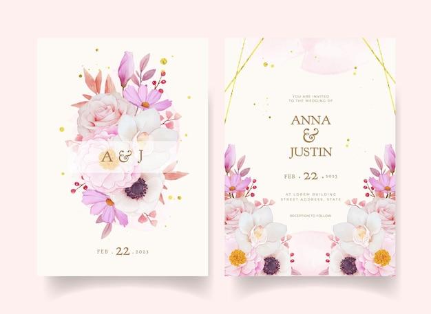 花の招待カード