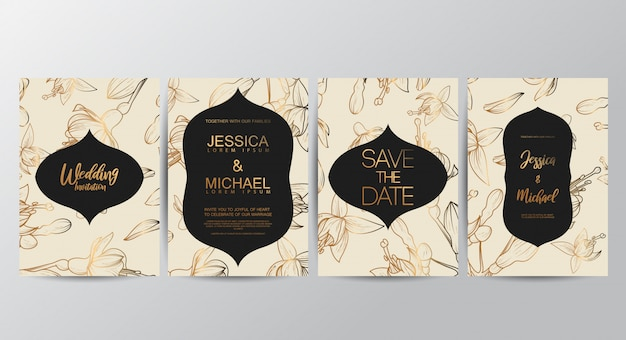 Floral invitation cards template
