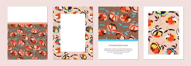 꽃 초대장을 설정합니다. 손으로 그린 배너, 전단지 템플릿입니다. 식물 개요. 카드 및 포스터. 큰 꽃. 유행은 갈색과 베이지 색 카드를 보여줍니다. 편지지 서식 파일 컬렉션