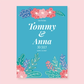 Floral invitation template for wedding