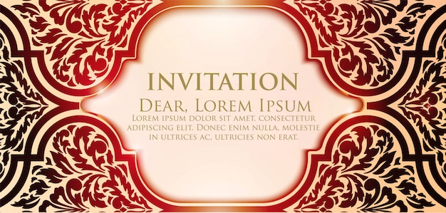 Floral invitation template with bright frame
