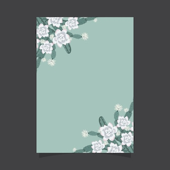 Floral invitation template with cactus and succulent flowers