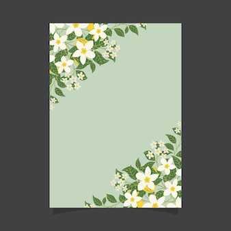 Floral invitation template with jasmine flowers and lemons