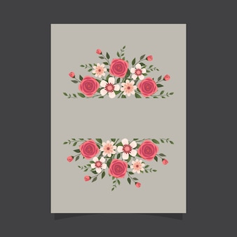 Floral invitation template with roses