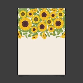 Floral invitation template with sunflowers