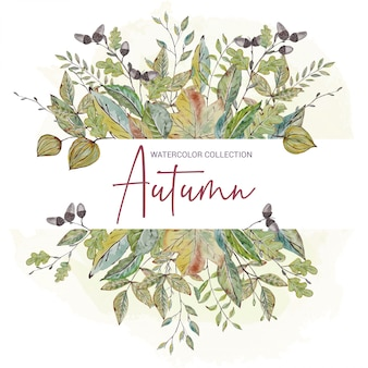 Floral invitation with fall leaves