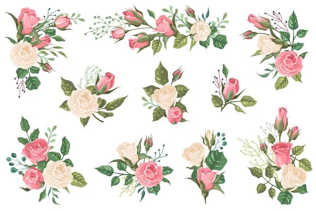 녹색 잎을 가진 빨간색 흰색과 분홍색 장미 꽃 봉오리와 꽃 초대장