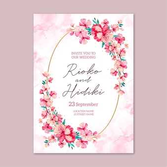 Floral japanese wedding invitation template