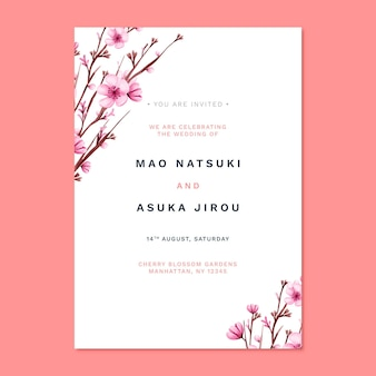 Floral japanese wedding invitation