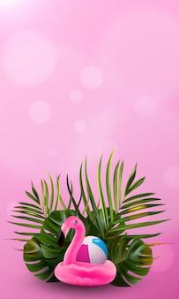 Цветочные джунгли пальмы и фламинго фон.