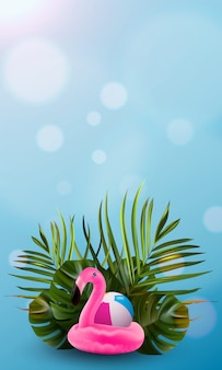 Floral jungle palm and flamingo background.