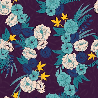 Floral jungle with snakes seamless pattern