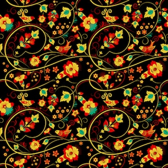 Floral khokhloma seamless pattern with birds