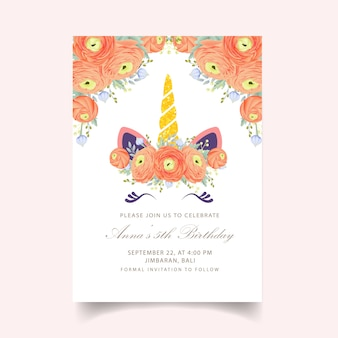Floral kids birthday invitation with cute unicorn