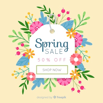 Floral label spring sale background