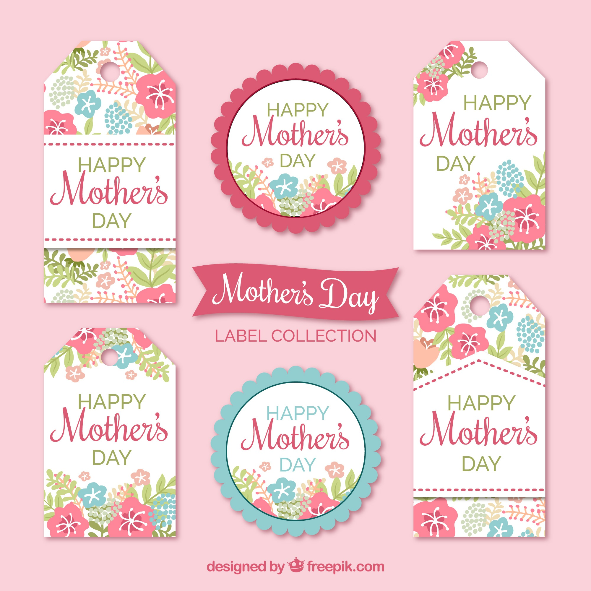 Floral labels in pastel colors for mother's day