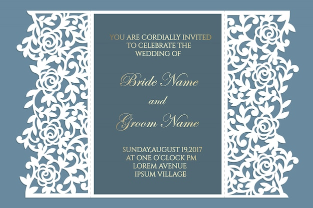 Floral lace gate fold laser cutting wedding invitation card template vector. design for laser cut or die cut template. ornamental wedding invite mockup.