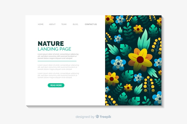 Floral landing page flat style